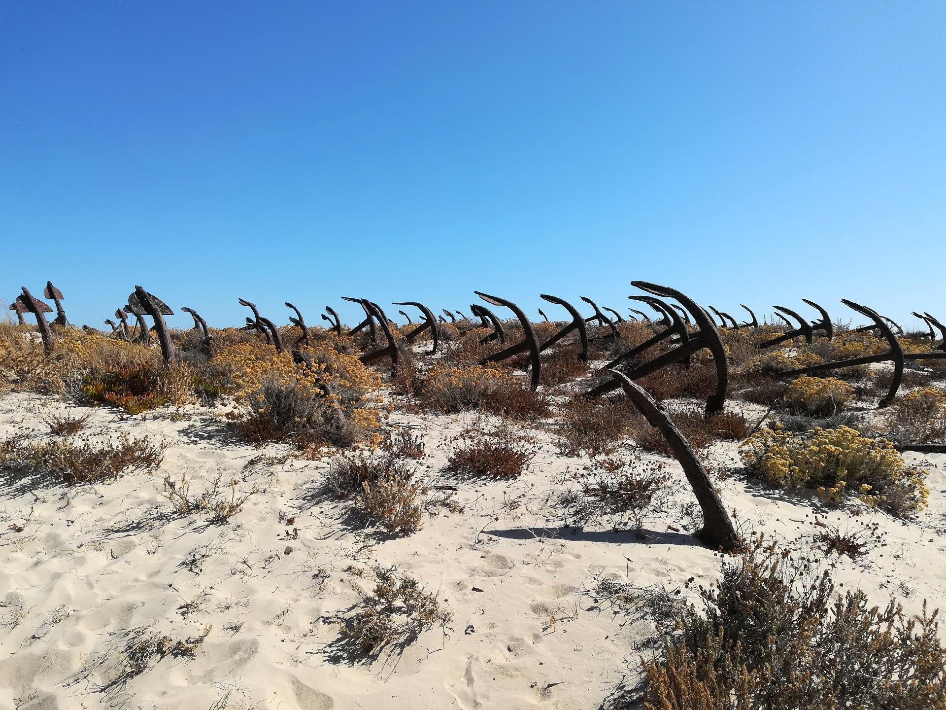 Veduta della spiaggia di Tavira, particolare del Cimitero delle ancore, Faro, Algarve, Portogallo