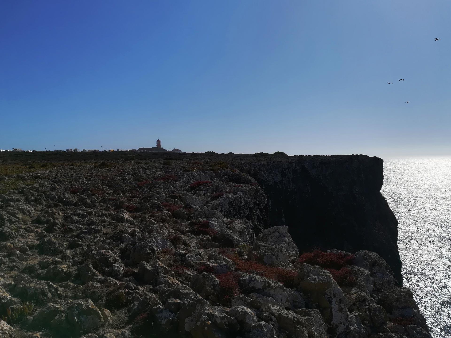 veduta del promontorio di Cabo de Sao Vicente e del suo faro. Algarve, Portogallo