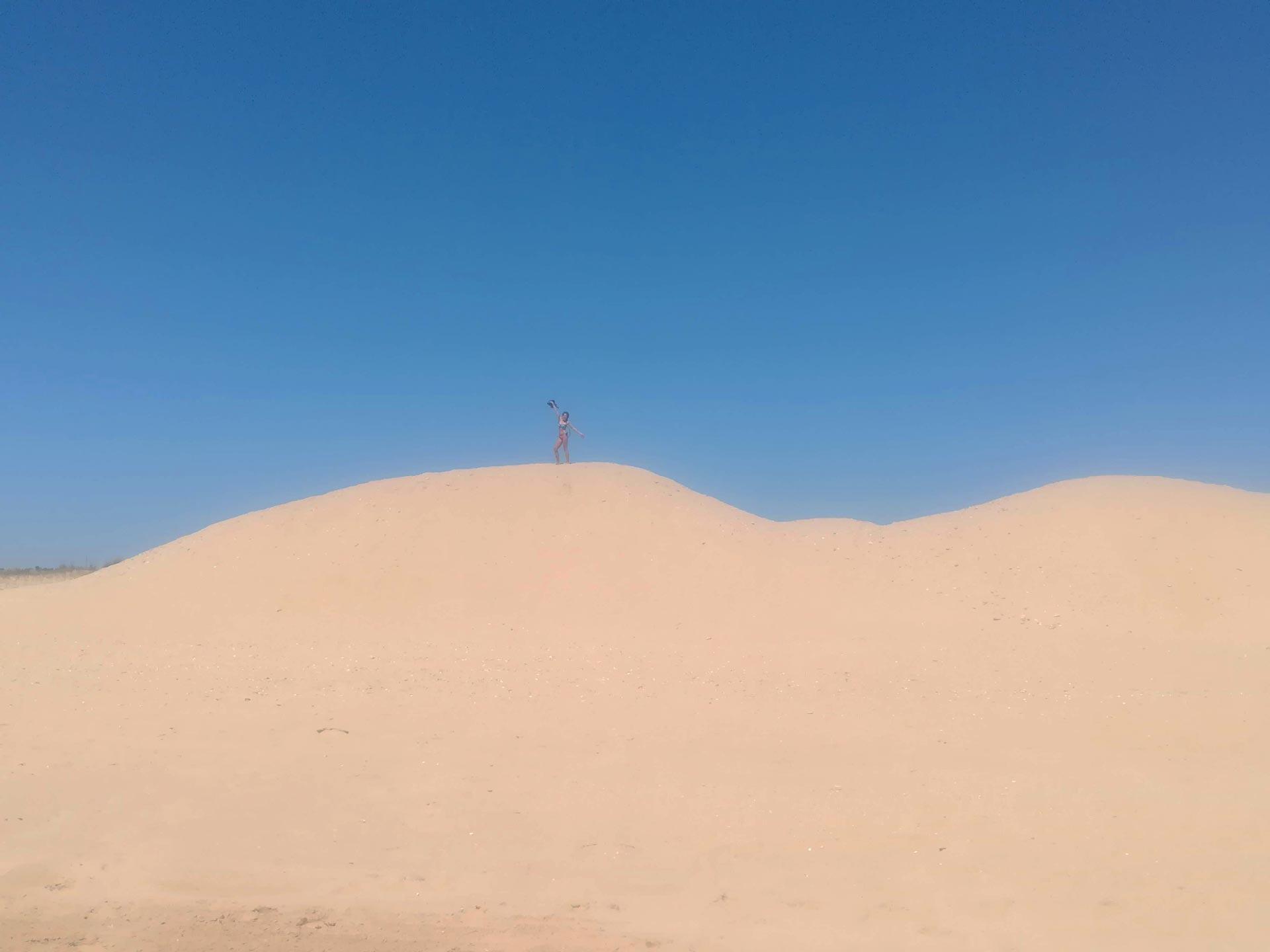 Dettaglio delle dune di Praia de Alvor (spiaggia), Portimao, Portogallo