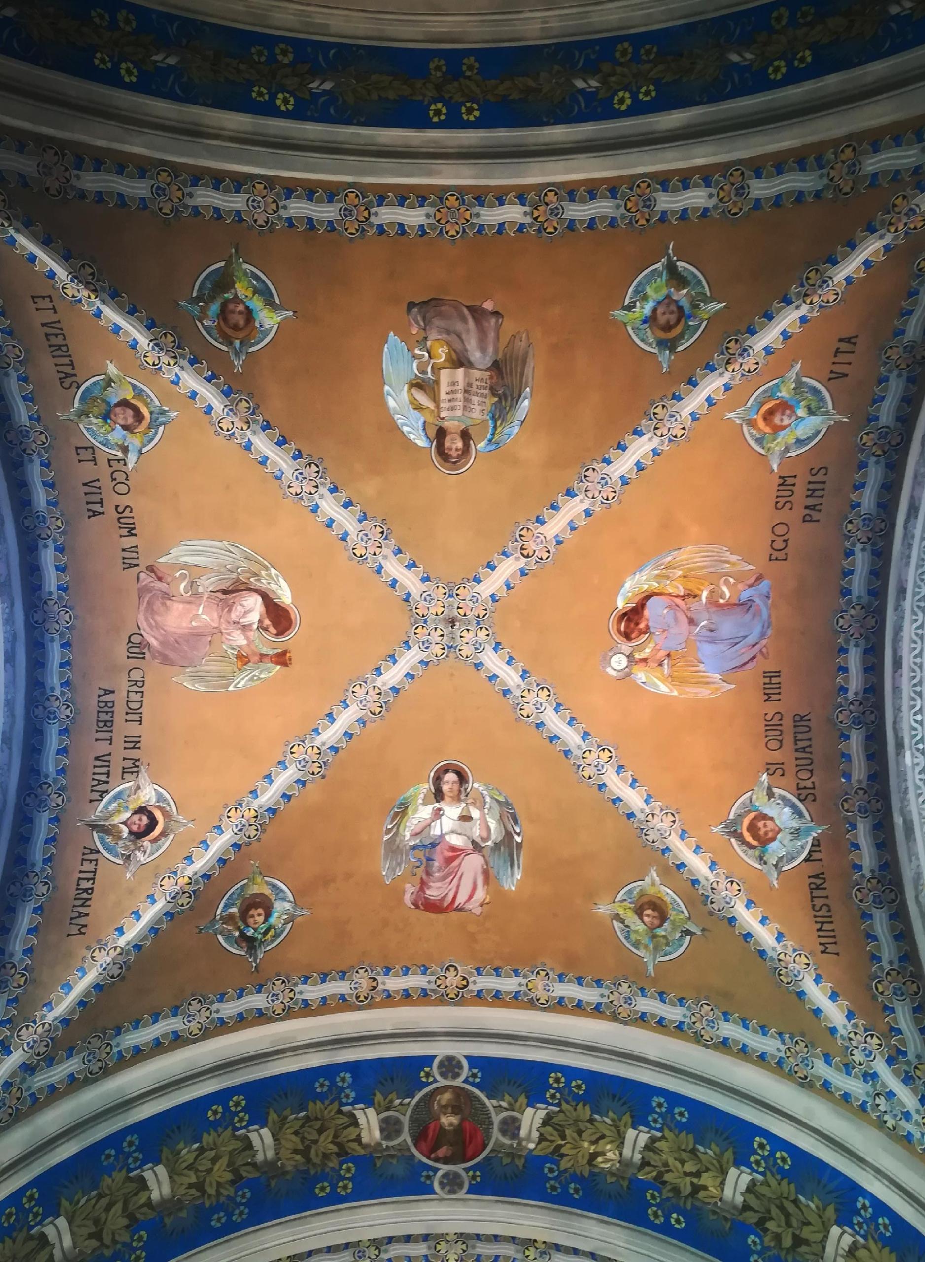 Particolare del soffito della Chiesa di Ss Immacolata a Favignana, Trapani, Sicilia