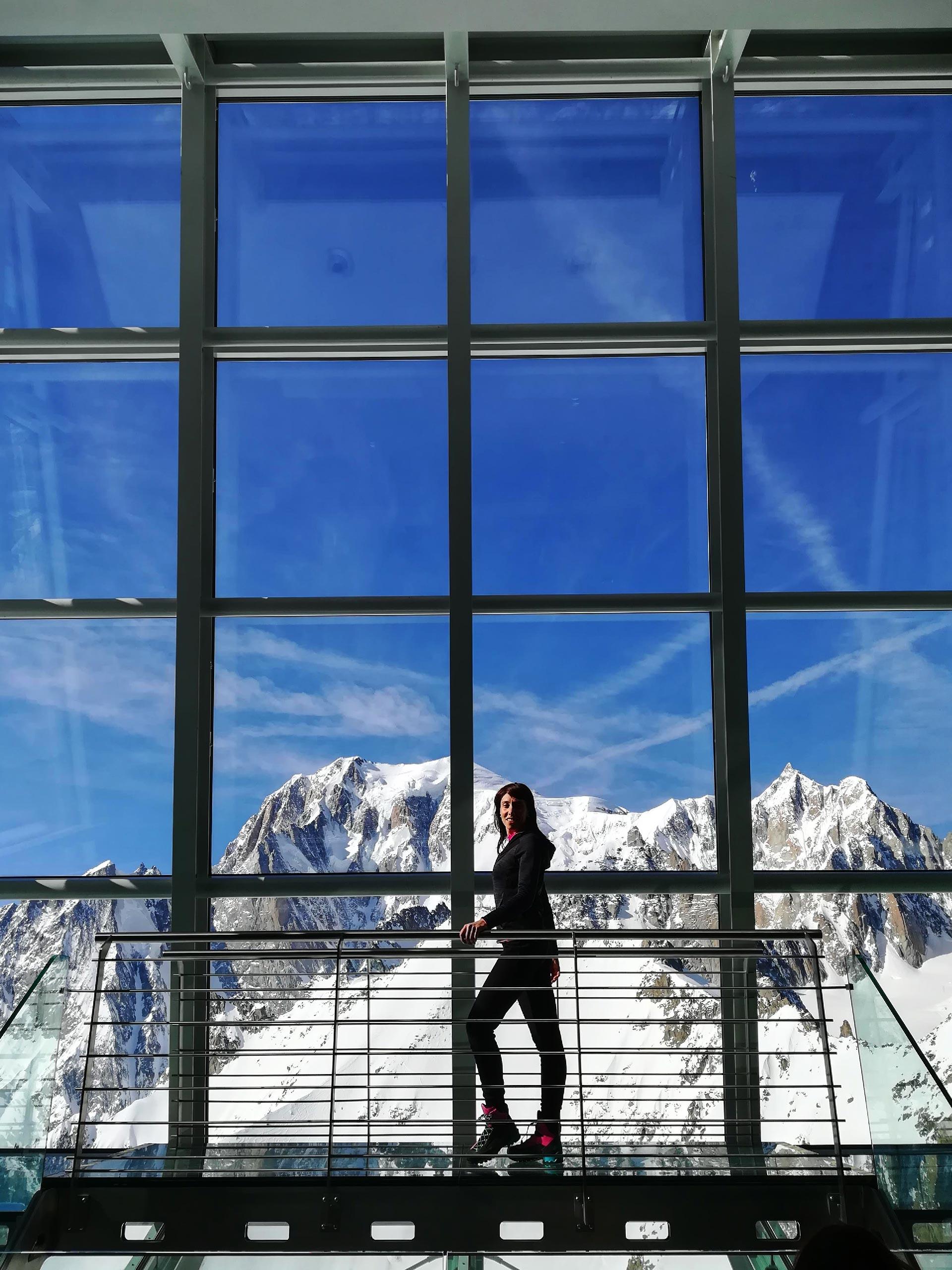 panorama sul Monte Bianco dall'interno della stazione di Punta Helbronner, particolare della vetrata, Courmayeur, Valle d'Aosta