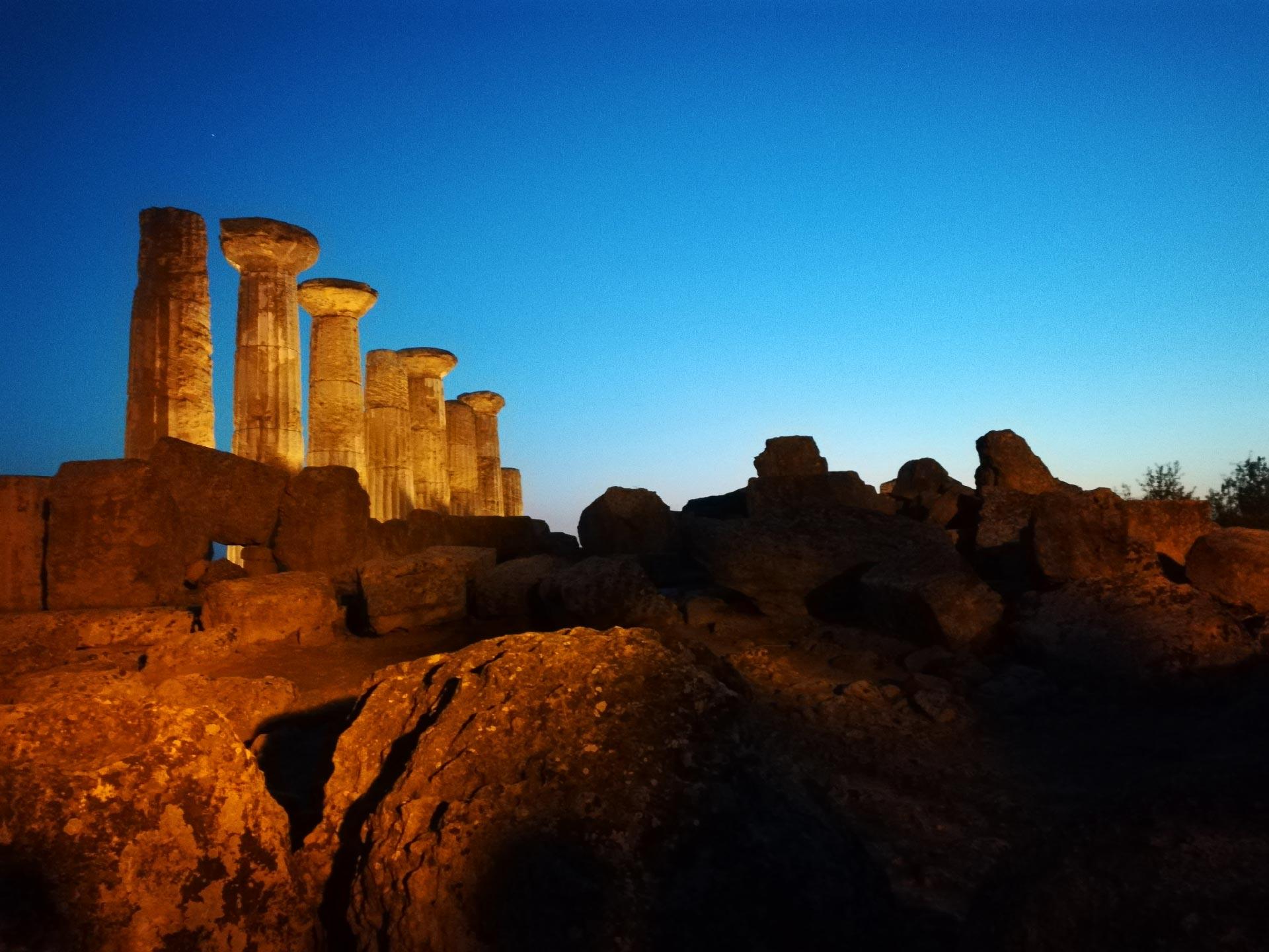 Tempio di Eracle al tramonto